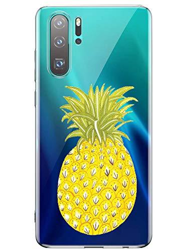 Oihxse Mode Transparent Silicone Case Compatible pour Huawei P Smart Z Coque, Ultra Mince Souple TPU Mignon Animal Série Protection de Housse Anti-Scrach Bumper Etui -Ananas
