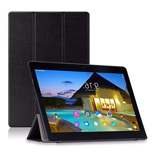 Anteck - Custodia in finta pelle, colore: nero, 24,4cm, con supporto, per tablet PC Anteck 24,4cm 3G Dual Sim sbloccato