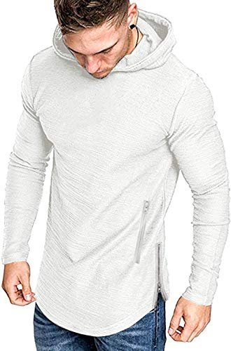 COOFANDY Men's Fashion Workout Hoodie Muscle Fit Cotton Blend Gym Sweatshirts Solid Color Athletic Pullover White