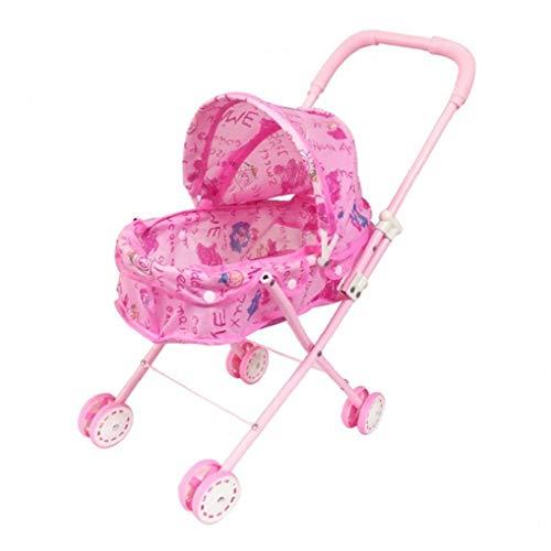 Plegable Muñeca Cochecito con Capucha Adorable muñeca del Cochecito de niño de Peso Ligero de Rosa de bebé de Juguete Cochecito para el bebé, niños pequeños Juguetes para niños