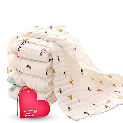 5 Stück Baby Musselin Waschlappen, Multifunktionales Babytuch, Gesichtstücher Baumwolle Handtuch Super Absorbent Weiche natürliche für Neugeborenes Baby Kinde, Jungen, Mädchen,25x48 cm