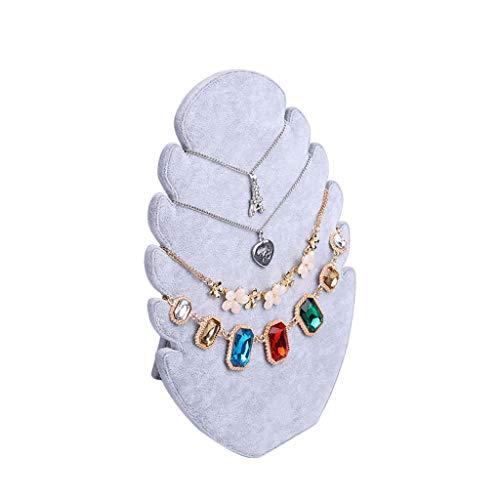 GWM Schmuck Halskette Kette Armband Display Display Organizer Halter Stehen Velvet Jewelry Regal Rack, Anhänger mit 5 Einkerbungen (Farbe : Gray)