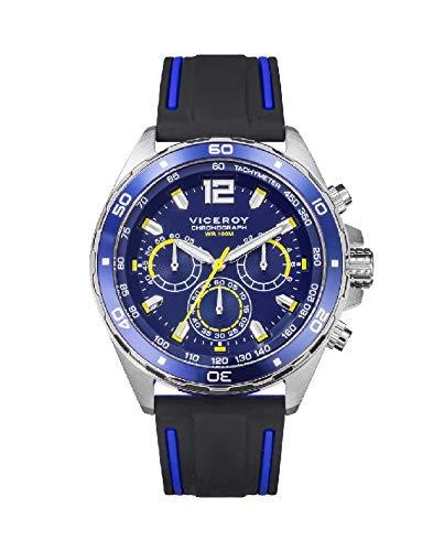 Viceroy 46803-35 Reloj Hombre Cuarzo Crono Acero Caucho Tamaño 43 mm
