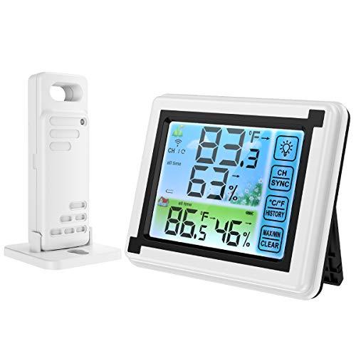 ORIA Termómetro Higrómetro Digital Interior y Exterior, Medidor de Humedad y Temperatura con 1 Sensor Remoto, Estación Meteorológica Inalámbrica con Pantalla LCD a Color Retroiluminada, Máx/Mín