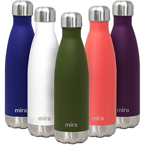 thermos insulated water bottles MIRA 17 Oz Stainless Steel Vacuum Insulated Water Bottle - Double Walled Cola Shape Thermos - 24 Hours Cold, 12 Hours Hot - Reusable Metal Water Bottle - Leak-Proof Sports Flask - Olive Green