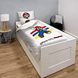 Funda nórdica Super Mario, Mario y Luigi Time, color blanco, para niños, 140 x 200 cm, 1 persona, 100% algodón, 2 en 1, edición limitada