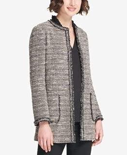 DKNY Womens Black Tweed Long Open Front Jacket US Size: 10