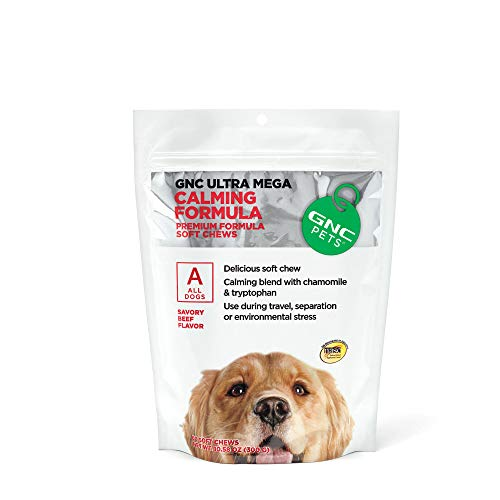 GNC Pets Ultra Mega Calming Soft Chews for Dogs, 60 Count - Beef Flavor | Use for Separation, Travel, and Environmental Stress | Healthy and Natural Pet Supplements Safe for All Dogs