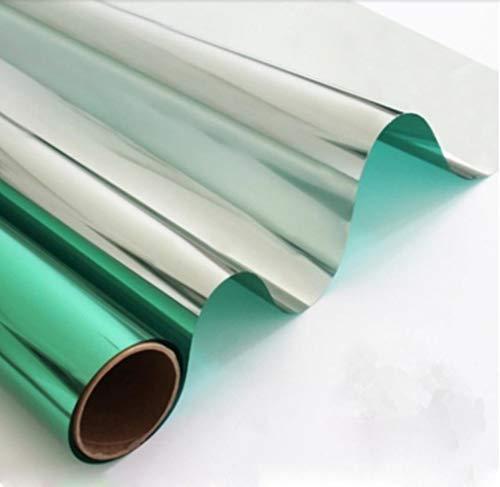 aifengxiandonglingbaihuo 50cmx300cm Wärmereduzierungsfensterfolie Solartönung Reflektierend Einwegspiegel Sonnencreme Glasaufkleber, grünes Silber, China