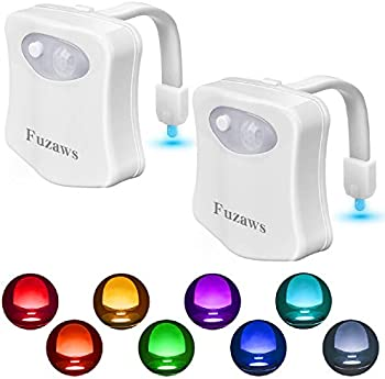 2-Pack Yekia Toilet Bowl 8-Color Motion Sensor LED Battery Night Light