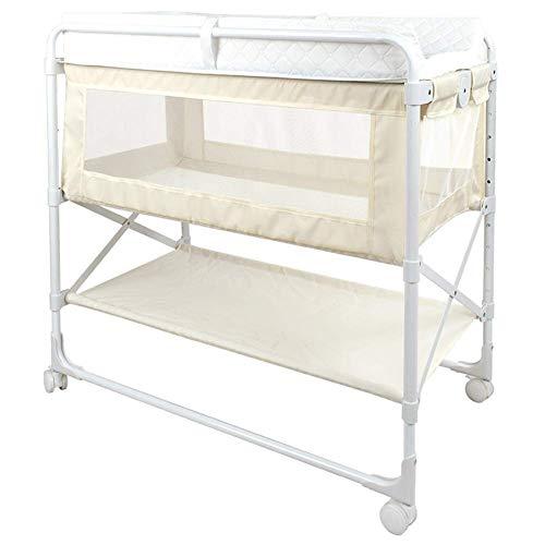JALAL Klappbarer Wickeltisch für Kinderbetten, tragbares Kleinkinderbett aus Metall mit Rädern und wasserdichtem Windelkissen für das Badezimmer der Toilette zu Hause