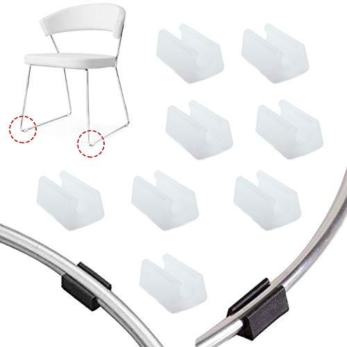 Zaky 15 Stück Plastic Chair Fußbodengleiter Schlauchkappen für Freischwinger Stuhlgleiter Bodenschongleiter Silencer Möbelgleiter Klemmschalengleiter Weiß(12 mm)