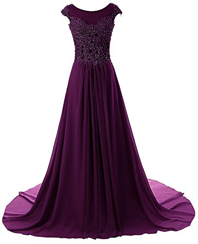 Prom Dress Long Formal Evening Gowns Lace Bridesmaid Dress Chiffon Prom Dresses Appliques Grape US24W (Apparel)