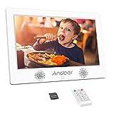 Andoer 10.1インチ デジタルフォトフレーム 1024 * 600解像度 IPS広視野角 TFT-LEDスクリーン 8GBメモリカード付き 広告マシン カレンダー/時計/アラーム/自動オンオフ 写真音楽動画再生 リモコン付き 良いギフト 祝日 誕生日 装飾用 ホワイト