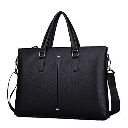 Getrichar Men's Business Briefcase Fashion Handbag First Layer Cowhide Shoulder Cross Bag 14 Inch Delicate Computer Bag (Color : Black, Size : 38.5 * 6 * 28cm)