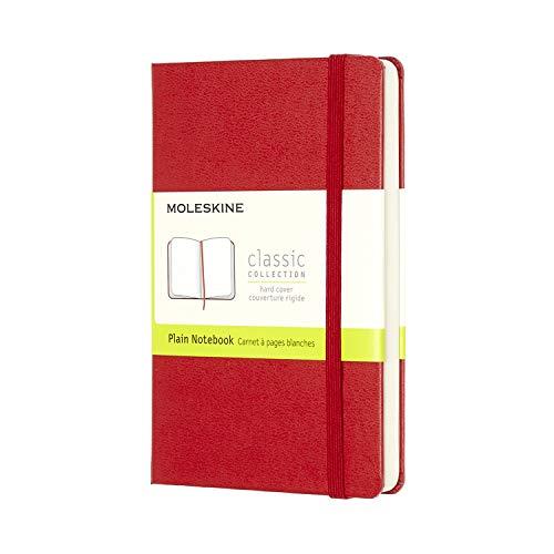 Moleskine - Cuaderno Clásico con Hojas Lisas, Tapa Dura y Cierre Elástico, Color Rojo Escarlata, Tamaño Pequeño 9 x 14 cm, 192 Hojas