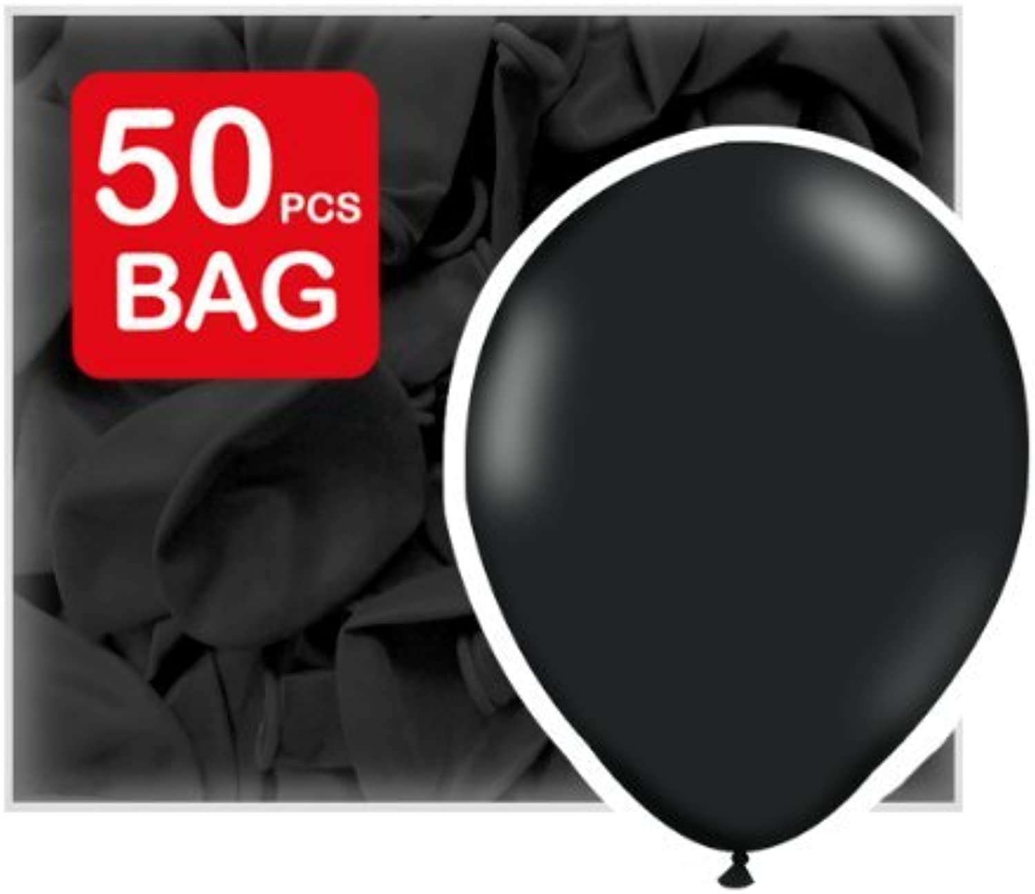 50 Black (Ebony) Balloons, latex, 27.5 cms 11 inch by balloons & balloon accessories