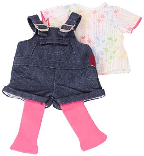 Götz 3402053 Kombination Latzhose Shorty - Jeanslatzhosen-Set Puppenbekleidung Gr. XL - 3-teiliges Bekleidungs- Zubehörset für Stehpuppen 45 - 50 cm