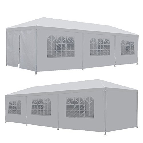 Niubstore PVC 10'x30' Canopy Party Tent White Wedding Heavy Duty Outdoor Event Gazebo Marquee with 6 Side Walls