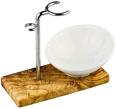 Rasierpinselhalter/Rasierpinsel-Ständer Olivenholz + Stahl