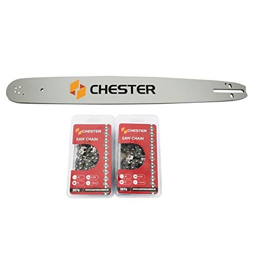 Chester - Guía de 20 pulgadas y 2 cadenas de 76 eslabones para motosierra