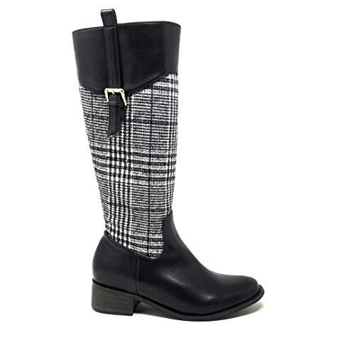 Angkorly - Damen Schuhe Stiefel Oberschenkel-Boot - Reitstiefel Kavalier - Biker - BCBG - Kariertes Gitterkaros Karomuster - Vichy-Muster - Schleife Blockabsatz 4 cm - Schwarz 1337 T 39