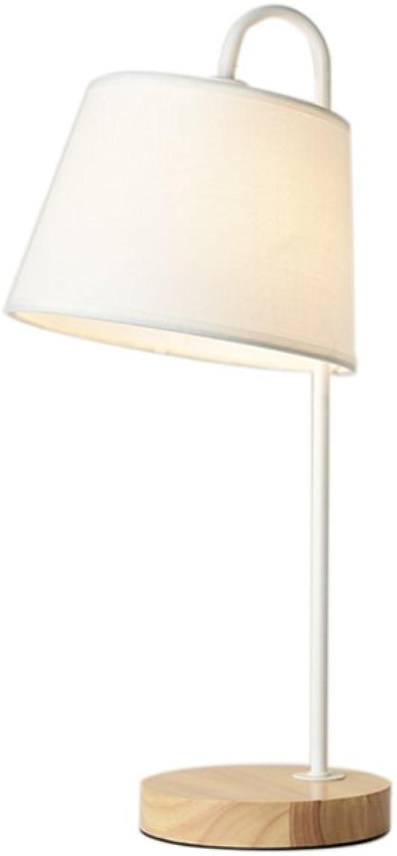 Tischlampe Einfache Nordic Style Tischleuchte Woody Eisen Tischleuchte Soft Beleuchtung (Farbe   Weiß (trumpet))