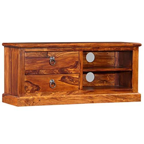 vidaXL Sheesham-Holz Massiv TV Schrank Fernsehtisch Fernsehschrank Lowboard TV Möbel Tisch Board Sideboard HiFi-Schrank 90x30x40cm