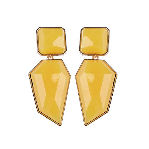 Without logo ZCPCS Fashion Designs Dangle Drop Earrings Women Yellow Colors Beads Geometric Factory Jewelry Gifts Brincos (Metal Color : 15)
