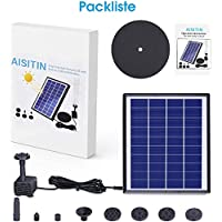 AISITIN Solar Fountain Pump 3.5W LED Solar Powered Water Feature and Round Shape Solar Water Pump with 6 Nozzles for…
