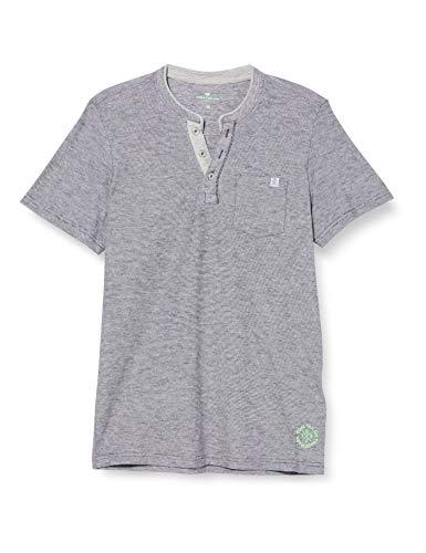 TOM TAILOR Herren Kurzarm Henley T-Shirt, Tarmac Grey Yarndye Stripe, XL