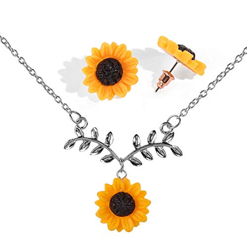 Eiffy Collar con Colgante de Hoja de Girasol de Resina para Mujer, diseño de Margarita Amarilla, Pendientes de Tuerca, joyería de Regalo