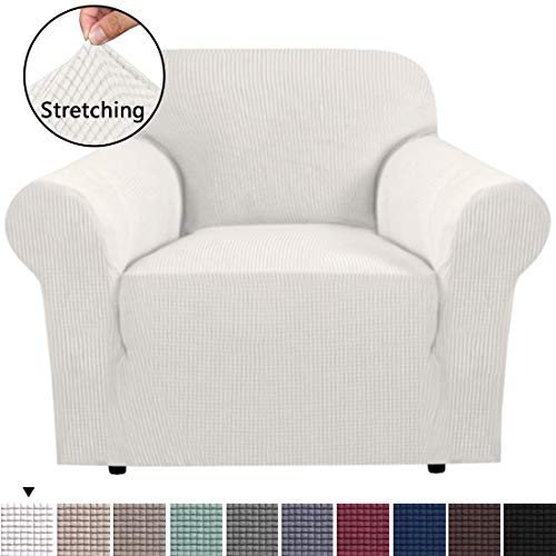 BellaHills Durable Soft High Stretch Sofa Slipcover 1 Piece Ivory White Couch Covers Lycra Furniture Protector Couch Cover Machine Washable Spandex Sofa Covers, Form Fitted 1 Seater Sofa Chair Cover