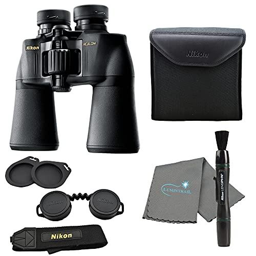 Nikon Aculon A211 10x50 Binoculars Black (8248) Bundle with a Lens Pen, and Lumintrail Lens Cloth