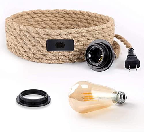 Modrad Lámpara colgante de cuerda de cáñamo con enchufe, estilo vintage, cable...