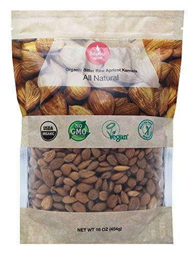 Mighty Apricot USDA Organic Bitter Apricot Kernels(1LB) 16oz, Natural...