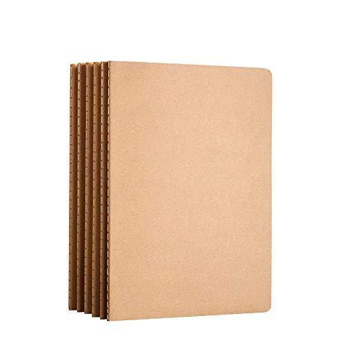 AiYoYo 6 STK A5 Notizbuch Klein Skizzenbuch Kraft Cover Notizhefte blanko(30 Blatt) Notizbücher(100g/m²) Ideal als Skizzenbuch Classic Schreibblock Zeichenblock Notepad Memo 21.0 x 14.3 cm