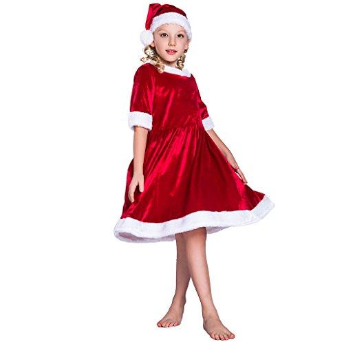 EraSpooky Mädchen Weihnachtsmann Kostüm Santa Claus Kleid Outfit mit Hut