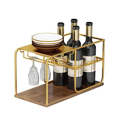 DAGONGREN Estante para vinos Tradicional de 4 Botellas - Totalmente ensamblado - Madera certificada (Color : C)
