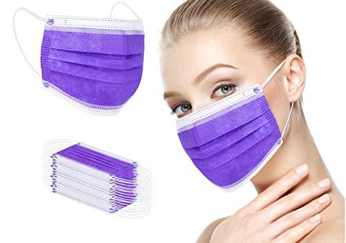 Face Bandana Mask Ear Loops Face Cover Men Women Mouth Cover Breathable Disposable YUAKOU (50PC(purple))