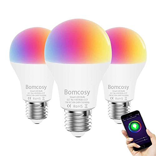 Alexa Lampen, Bomcosy Smart Lampe WLAN Glühbirnen E27 Birne RGBW Wifi Light Bulb Kompatibel mit Amazon Alexa Echo Google Home Kein Hub Erforderlich Dimmbares Mehreren Farben (3 Stück)
