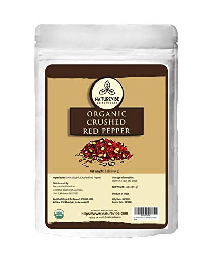 Naturevibe Botanicals Organic Crushed Red Pepper, 1lbs - Non GMO and Gluten Free | Adds Taste and Flavor [Packaging may Vary]
