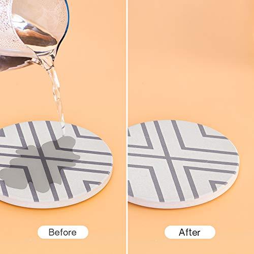 OppsArt コースター 硅藻土 6枚セット 吸水速乾 断熱 滑り止め セラミック 円型 10cm アスベスト含まれいない 縞模様