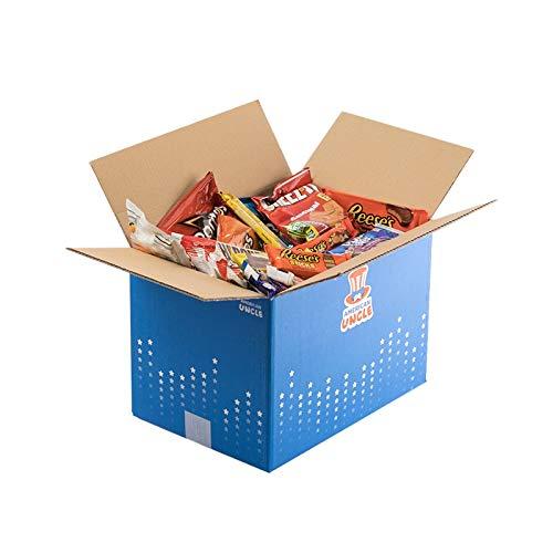 Confezione EXTRA LARGE di SNACK AMERICANI by AMERICAN UNCLE | L'ORIGINALE ed AMATISSIMA | Tanti snacks made in USA: bibite, dolce e salato | AMERICANBOX M da almeno 47 pezzi | Idea regalo originale