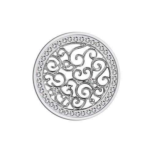 Meilanty Damen Halskette Anhänger Coin 33mm für Münzfassungen Edelstahl Silber Blumenband mit Zirkonia GP-27