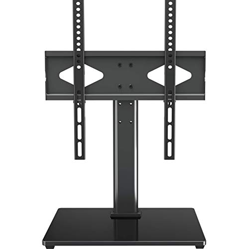 Universal TV Stand – Table Top TV Stand with Mount for 37-55 Inch Flat Screen TVs, Height Adjustable TV Mount Stand with Tempered Glass Base, TV Base Stand Holds up to 88 lbs, Max VESA 400x400mm