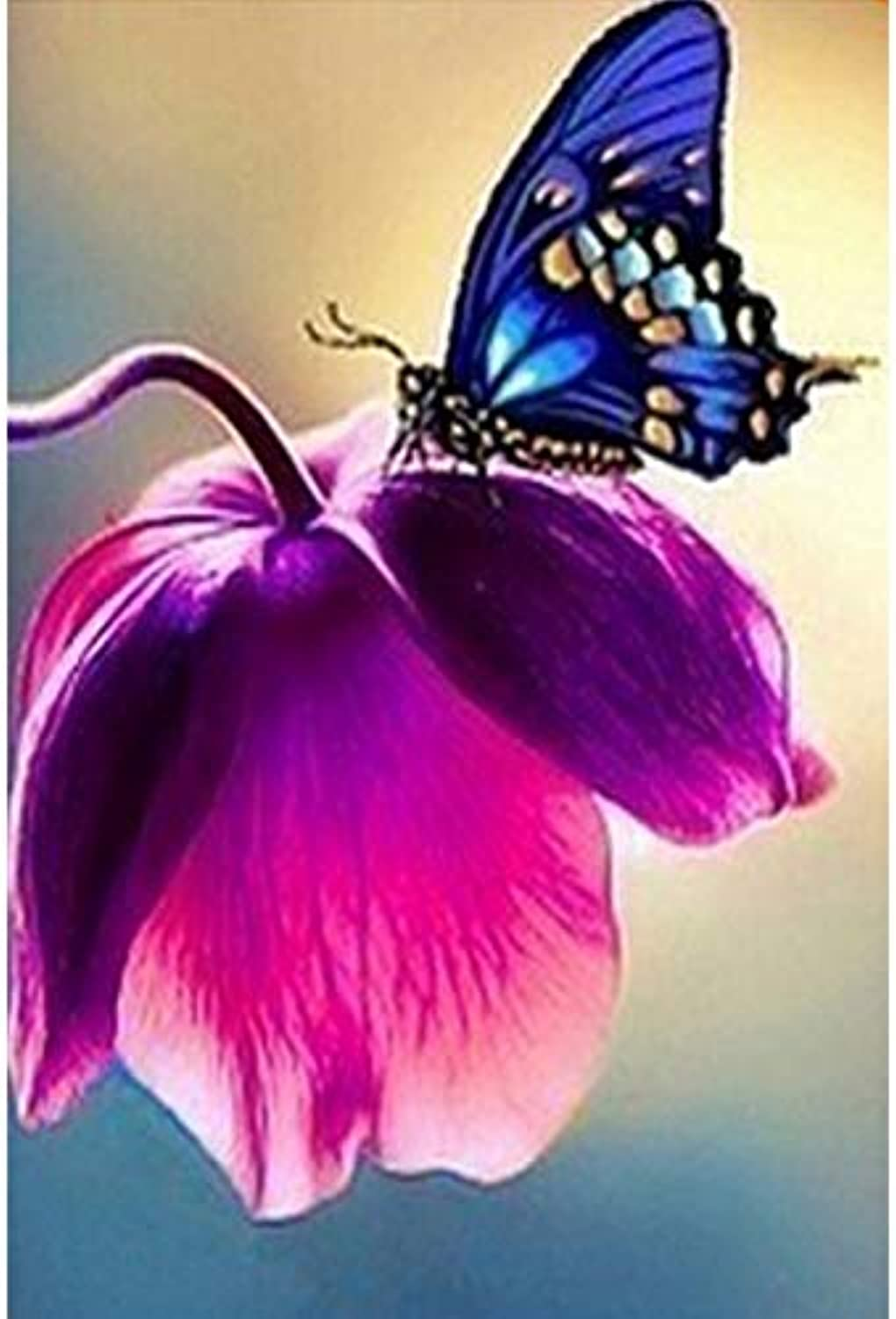 Diy Oil Painting, Paint By Number Kits -bluee Purple Flower Butterfly, 16X20 Inch