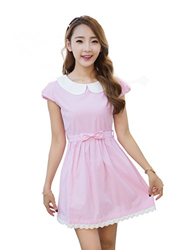 TULIPTREND Women's Fresh Doll Collar Short Sleeve Dress Pink US Small/Asian Medium