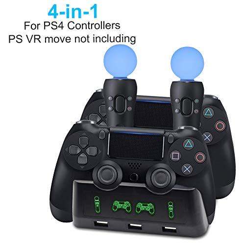 AMANKA PS VR Controller Ladestation für PS4 / PS VR/Move-Motion-Controller, 4-in-1-Ladestation für Desk Station Ladestation mit 3 USB charge-port für Playstation PS4 PSVR VR Move