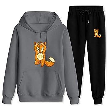 CAPINER Fashion Sportwear Set Cute Yoga Fox Tracksuit Set Pullover Hoodies+Jogger Pant 2 Piece Outfit Men Women Women-2XL/Men-XL